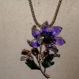 Betsey Johnson purple sunflower pendant necklace